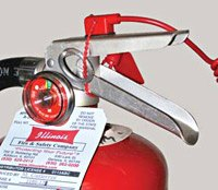 Fire Extinguisher Alarm wraps around handle to discourage tampering