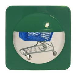 See bottom of shopping carts with this security mirror