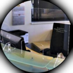 Checkpoint Systems Hygienic Screens in office area, American Theft Prevention Products.