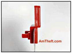 Alpha Disposable hang tag with anti theft coil, side view at AmTheft.com