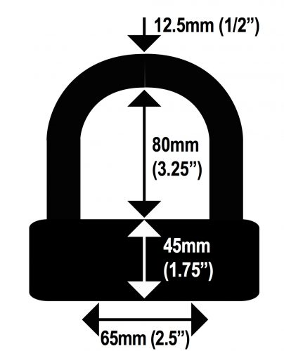 Lock Alarm U Shackle with Alarm Dimension